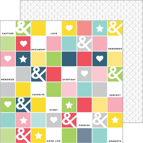 Pinkfresh Studio - Life Noted Collection - 12 x 12 Double Sided Paper - Checker Board