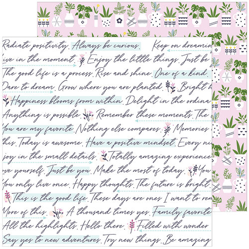 Pinkfresh Studio - Noteworthy Collection - 12 x 12 Double Sided Paper - Positive Mindset
