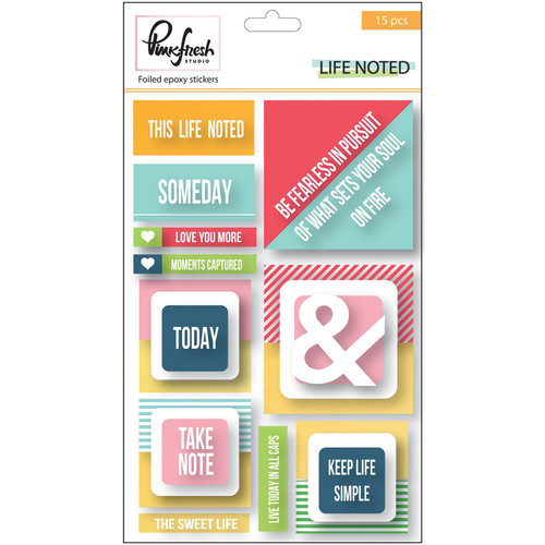 Pinkfresh Studio - Life Noted Collection - Epoxy Stickers with Foil Accents