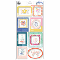 Pinkfresh Studio - Joyful Day Collection - Chipboard Stickers - Frames and Accents