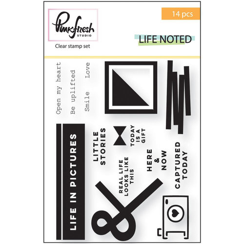 Pinkfresh Studio - Life Noted Collection - Clear Acrylic Stamp Set