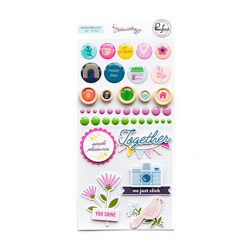 Pinkfresh Studio - Noteworthy Collection - Mixed Embellishment Pack