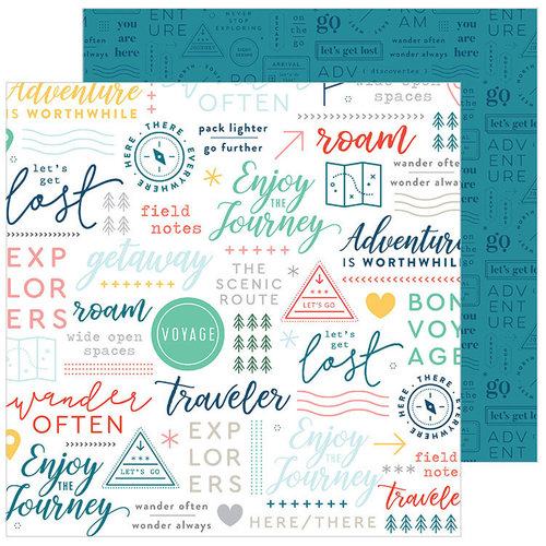 Pinkfresh Studio - Out and About Collection - 12 x 12 Double Sided Paper - Traveler
