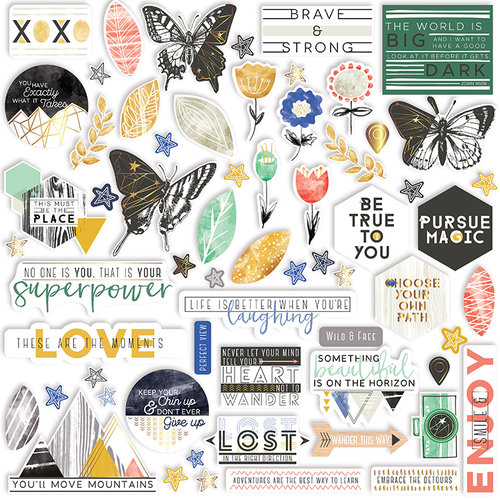 Pinkfresh Studio - Escape the Ordinary Collection - Ephemera Pack with Foil Accents