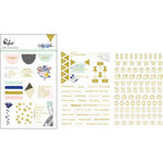 Pinkfresh Studio - Indigo Hills Collection - Cardstock Stickers with Foil Accents - Words and Icons