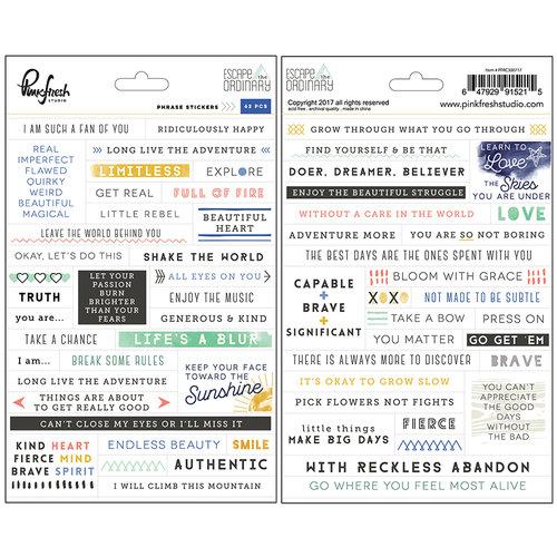 Pinkfresh Studio - Escape the Ordinary Collection - Cardstock Stickers - Phrases