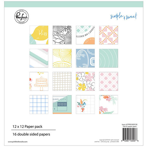Pinkfresh Studio - Simple and Sweet Collection - 12 x 12 Paper Pack