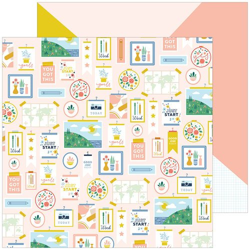 Pinkfresh Studio - Office Hours Collection - 12 x 12 Double Sided Paper - Inspiration