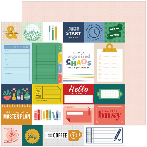 Pinkfresh Studio - Office Hours Collection - 12 x 12 Double Sided Paper - Busy