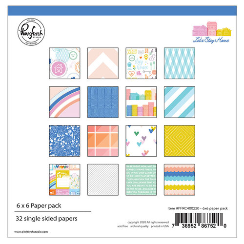 Pinkfresh Studio - Let's Stay Home Collection - 6 x 6 Collection Paper Pack