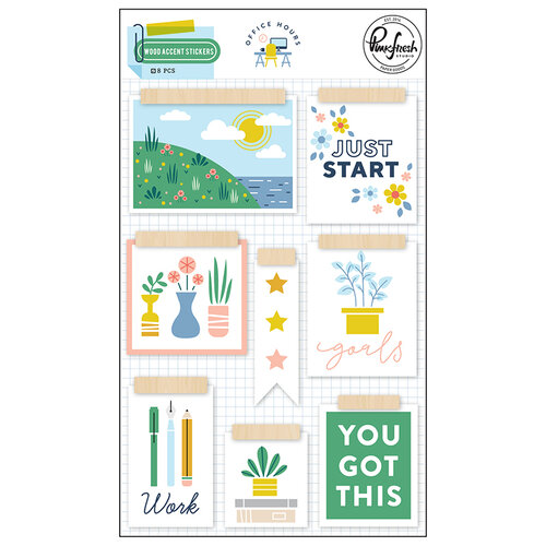 Pinkfresh Studio - Office Hours Collection - Wood Accent Stickers