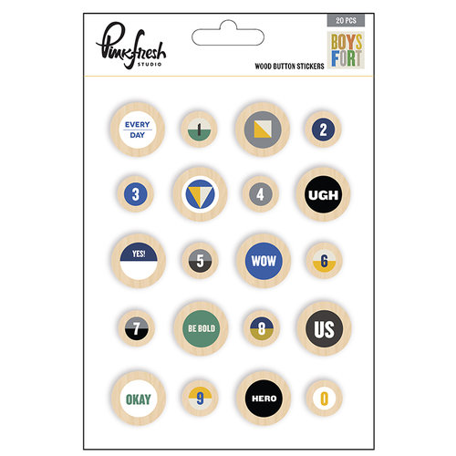 Pinkfresh Studio - Boys Fort Collection - Wood Stickers - Buttons