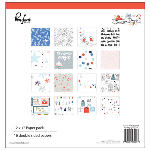 Estudio Pinkfresh - Colección Days December - Navidad - Paquete de papel 12 x 12