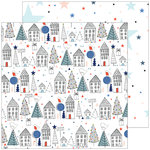Pinkfresh Studio - December Days Collection - Christmas - 12 x 12 Double Sided Paper - Starry Night