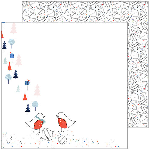Pinkfresh Studio - December Days Collection - Christmas - 12 x 12 Double Sided Paper - Ornaments
