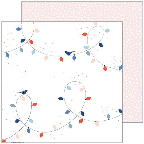 Pinkfresh Studio - December Days Collection - Christmas - 12 x 12 Double Sided Paper - Christmas Lights
