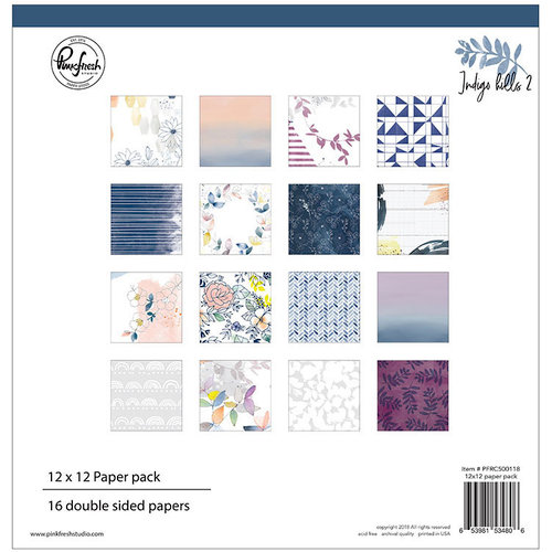 Pinkfresh Studio - Indigo Hills 2 Collection - 12 x 12 Paper Pack
