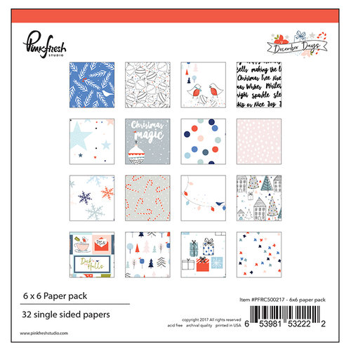 Pinkfresh Studio - December Days Collection - Christmas - 6 x 6 Paper Pack