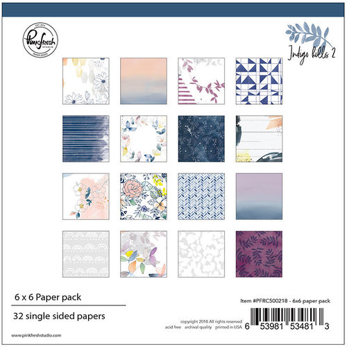 Pinkfresh Studio - Indigo Hills 2 Collection - 6 x 6 Paper Pack