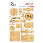 Pinkfresh Studio - December Days Collection - Christmas - Wood Stickers with Foil Accents