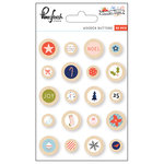 Pinkfresh Studio - December Days Collection - Christmas - Wooden Buttons