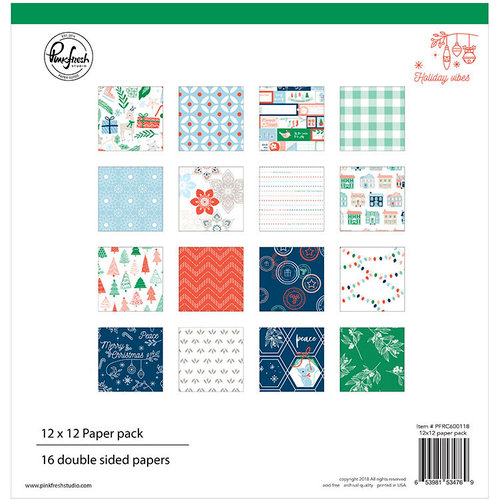 Pinkfresh Studio - Holiday Vibes Collection - Christmas - 12 x 12 Paper Pack