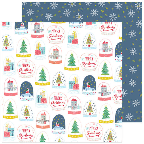 Pinkfresh Studio - Christmas - Home for the Holidays Collection - 12 x 12 Double Sided Paper - Snow Globes