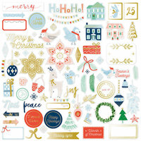 Pinkfresh Studio - Holiday Vibes Collection - Christmas - Ephemera Pack with Foil Accents