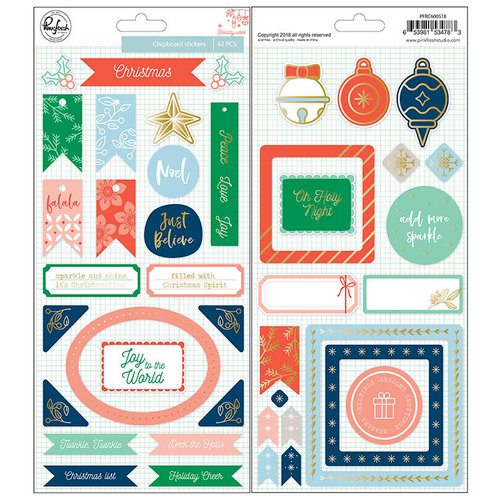 Pinkfresh Studio - Holiday Vibes Collection - Christmas - Chipboard Stickers