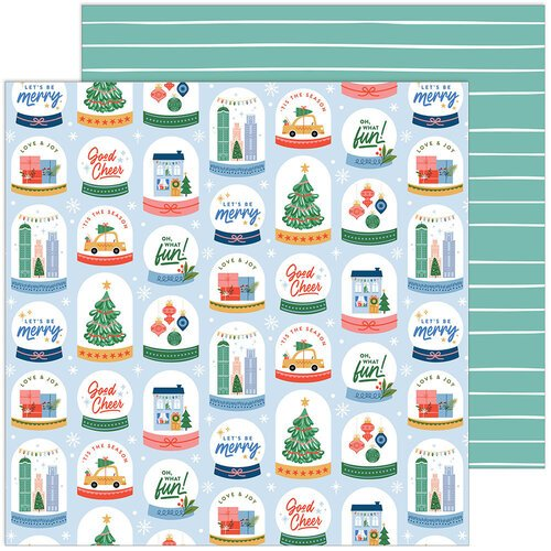 Pinkfresh Studio - Oh What Fun Collection - 12 x 12 Double Sided Paper - Snow Globes