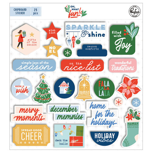 Pinkfresh Studio - Oh What Fun Collection - Chipboard Stickers