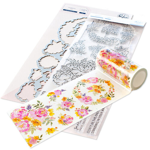 Pinkfresh Studio - Clear Photopolymer Stamps, Washi Tape and Die Set - Painted Peony Mix Complete Bundle