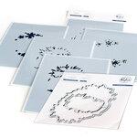 Pinkfresh Studio - Layering Stencils and Die Set - Rustic Floral Wreath Bundle