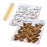 Pinkfresh Studio - Hot Foil Plate, Die and Glimmer Aura Hot Foil Roll - Small Butterflies Bundle