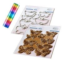 Pinkfresh Studio - Hot Foil Plate, Die and Glimmer Mini Rainbow Stripe Hot Foil Roll - Small Butterflies Bundle