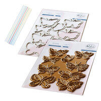 Pinkfresh Studio - Hot Foil Plate, Die and Glimmer Prism Hot Foil Roll - Small Butterflies Bundle