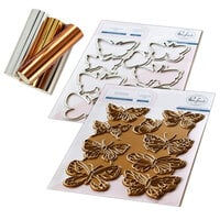 Pinkfresh Studio - Hot Foil Plate, Die and Glimmer Metallic Hot Foil Variety Pack - Small Butterflies Bundle