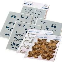 Pinkfresh Studio - Hot Foil Plate, Layering Stencils and Die Set - Small Butterflies Bundle
