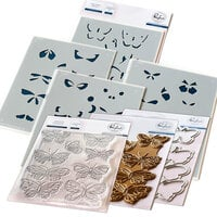 Pinkfresh Studio - Hot Foil Plate, Layering Stencils, Clear Photopolymer Stamps and Die Set - Small Butterflies Complete Bundle