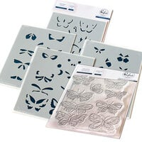 Pinkfresh Studio - Clear Photopolymer Stamps and Layering Stencils Set - Small Butterflies Bundle