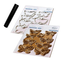 Pinkfresh Studio - Hot Foil Plate, Die and Glimmer Black Hot Foil Roll - Small Butterflies Bundle