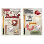 Paper House Productions - Baseball Collection - Die Cut Chipboard Pieces - Baseball