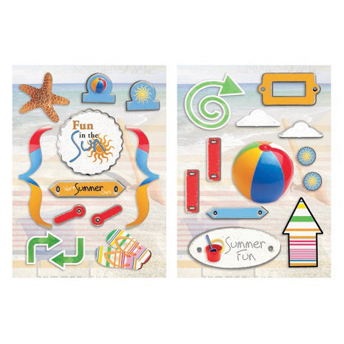 Paper House Productions - Fun Beach Collection - Die Cut Chipboard Pieces - Fun Beach