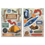 Paper House Productions - Camping Collection - Die Cut Chipboard Pieces - Happy Camper