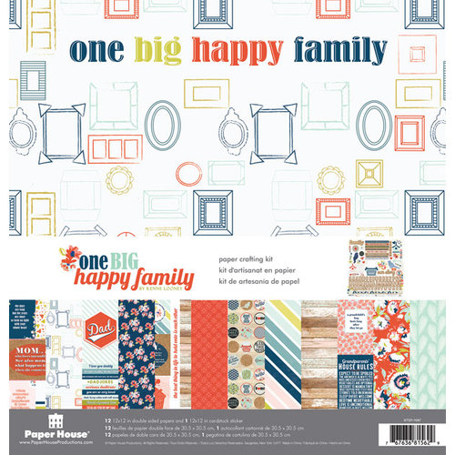 Paper House Productions - One Big Happy Family Collection - 12 x 12 Paper Crafting Kit
