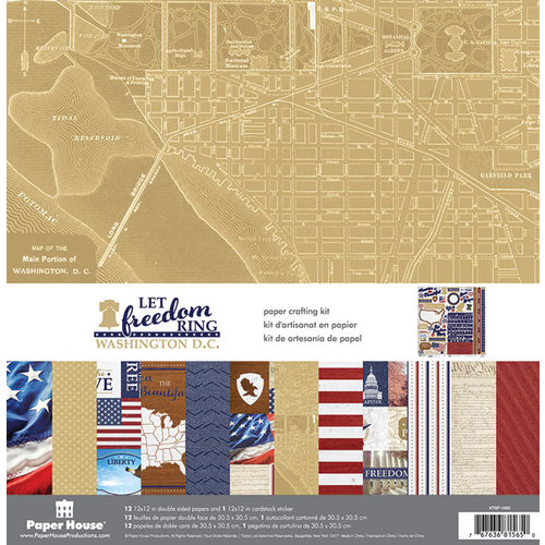 Paper House Productions - Let Freedom Ring Collection - 12 x 12 Paper Crafting Kit - Washington DC