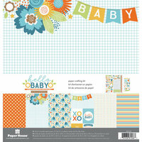 Paper House Productions - Hello Baby Boy Collection - 12 x 12 Paper Crafting Kit