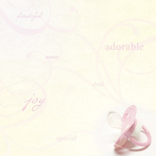 Paper House Productions - Baby Girl Collection - 12 x 12 Paper - Pink Pacifier