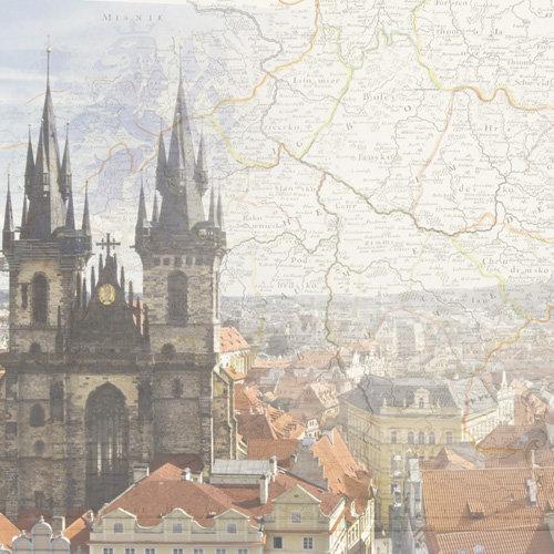 Paper House Productions - Prague Collection - 12 x 12 Paper - Prague Map