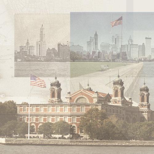 Paper House Productions - Ellis Island Collection - 12 x 12 Paper - Ellis Island Collage
